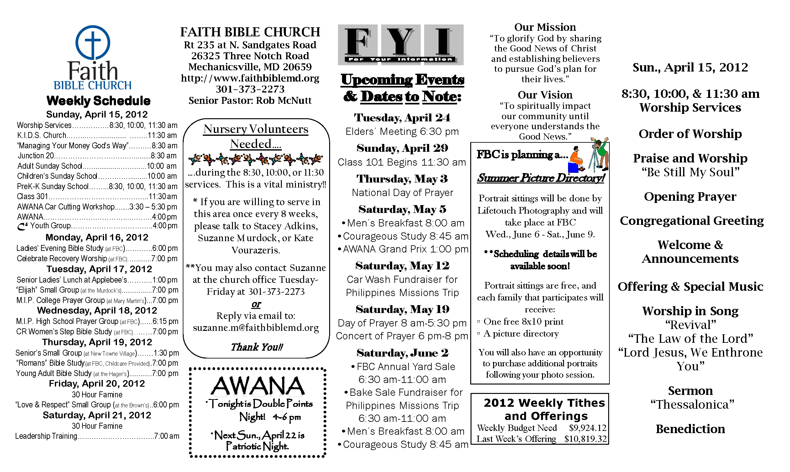 Sample church bulletins the second sunday of each month for Free templates for church bulletins